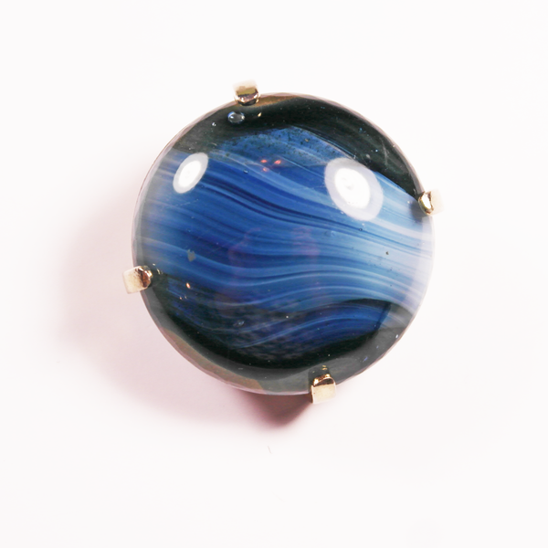 Faux Blue Agate Sphinx Brooch