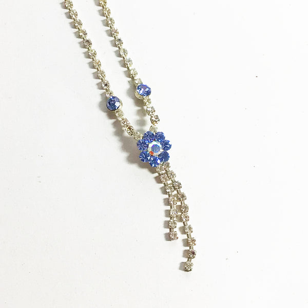 Diamante necklace with iridescent flower drop