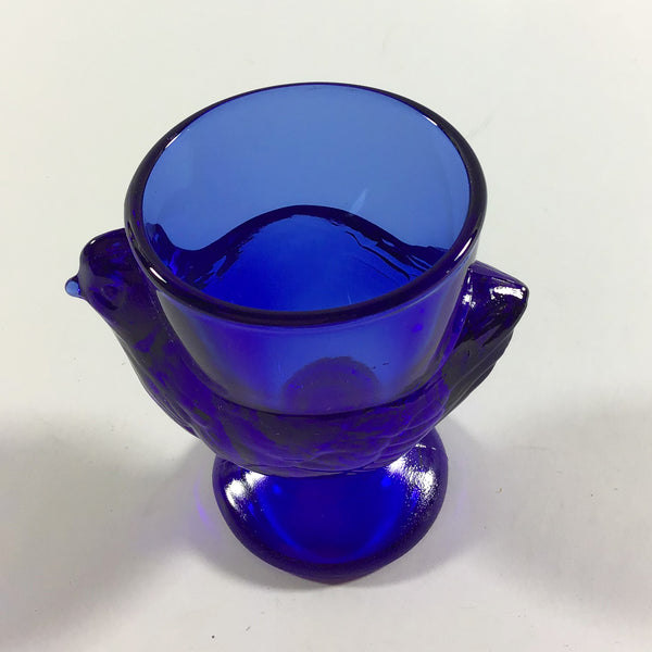 Vintage French Cobalt Blue Glass Chicken Egg Cups