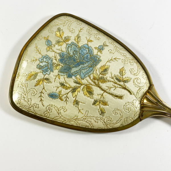 Blue Embroidered Hand Held Vanity Mirror