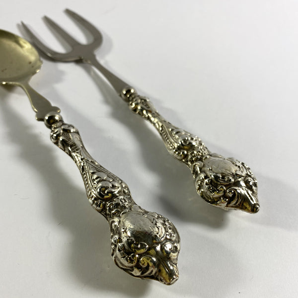 Antique Silver Handled Bread Fork and Jam Spoon