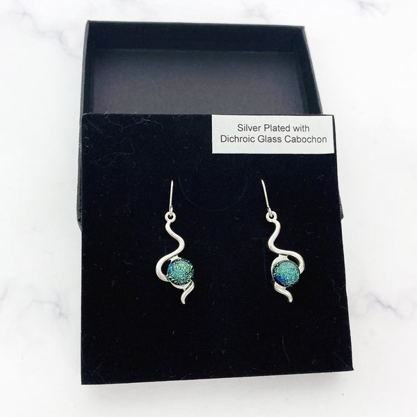 Green Dichroic Glass silver plated earrings.  Handmade by Shirley of Studio 50 Glass, based in Cambridgeshire.
