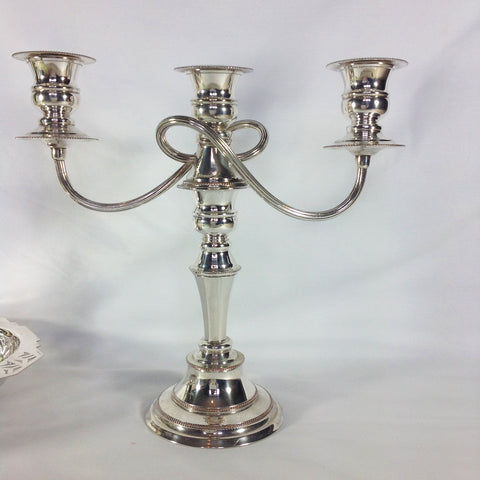 Silver Plate Dual Purpose 3 Light Candelabra