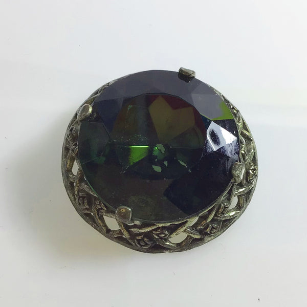 Celtic Scottish Miracle Style Dark Green Glass Brooch