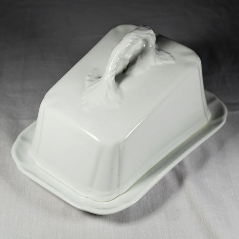 White Cheese Dish with Lid