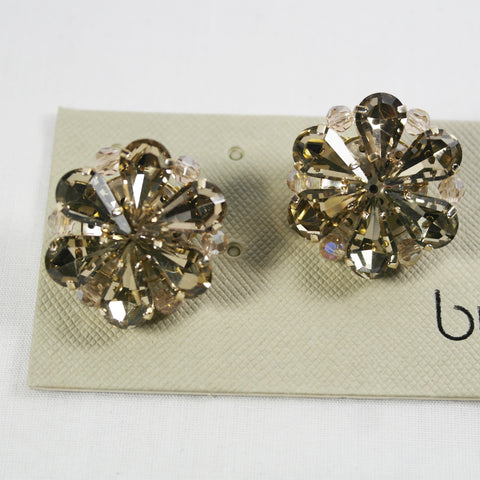 Champagne Crystal Clip On Earring