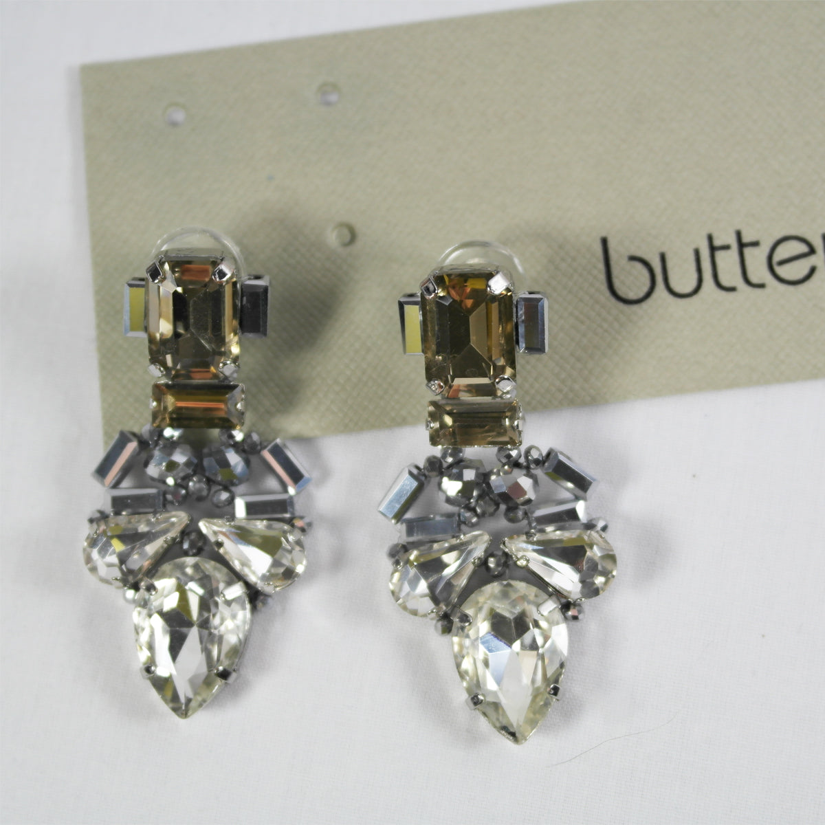 Champagne and Clear Crystal Drop Earrings