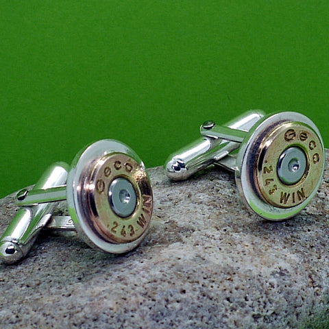 Silver and Brass Rifle Cartridge Cuff Links