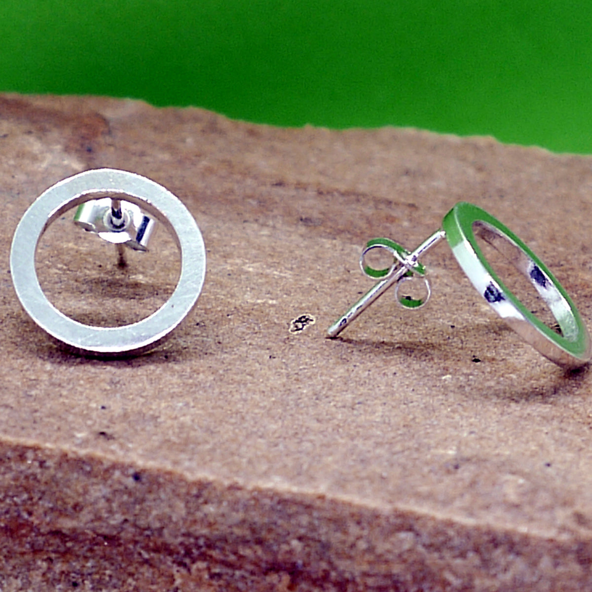 Sterling silver Circle Stud Earrings.  Handmade by Field Sports Jewellery an exhibitor to the Rural Magpie Jewellery Fair.