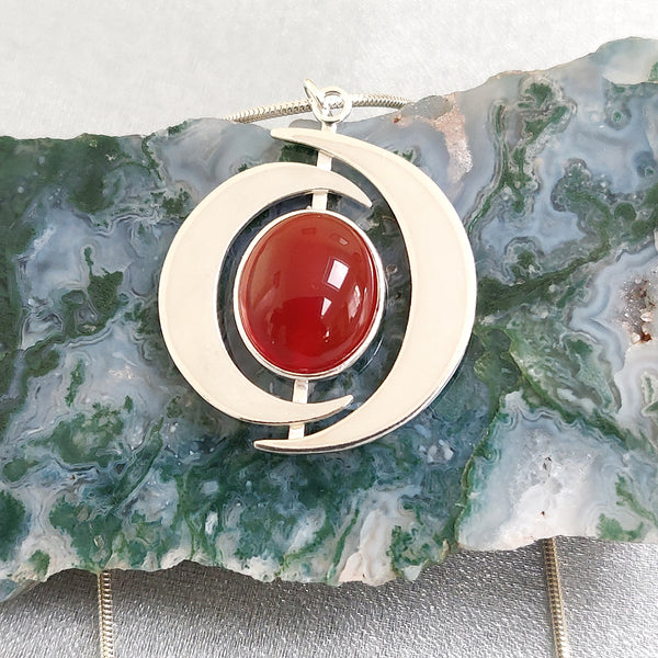 Handmade sterling silver Carnelian Pendant.  Made by TadModish Jewellery Design. A Rural Magpie Jewellery Fair Exhibitor