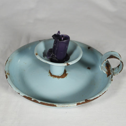 Vintage Blue Enamel Candle Holder