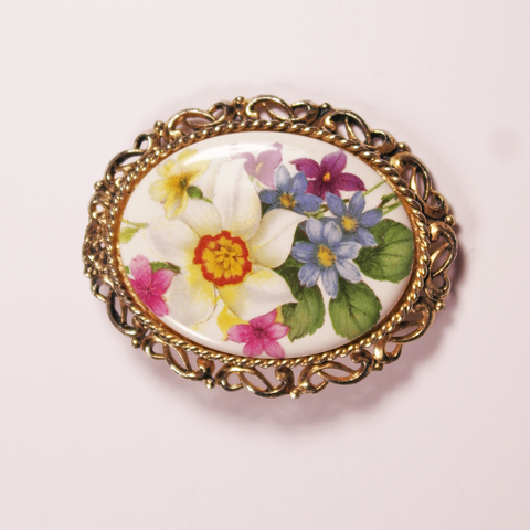 Floral Ceramic Brooch
