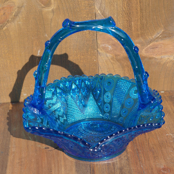 Victorian Blue Pressed Glass Basket