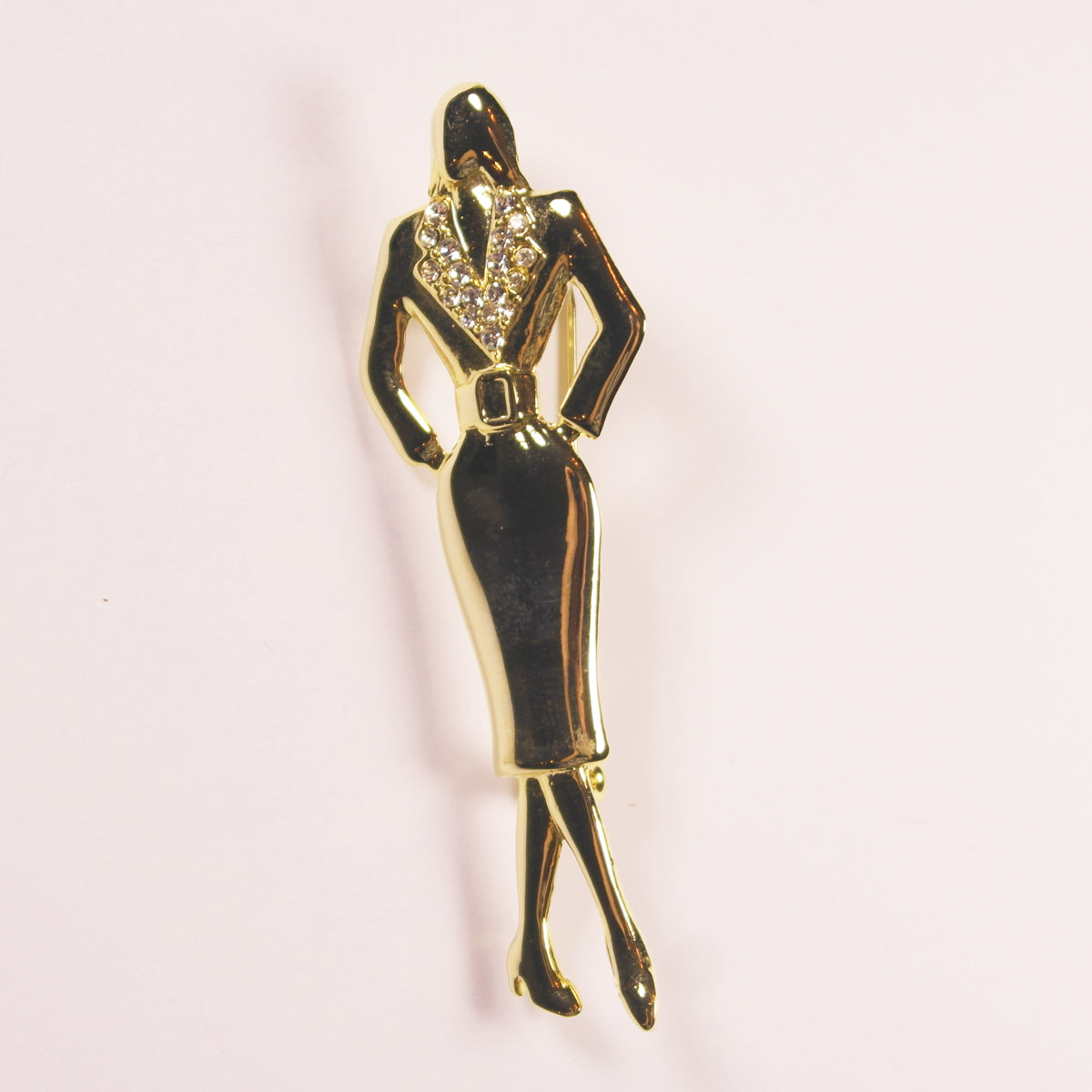 1980's gold tone and diamante elegant lady brooch