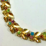 Gold plated choker necklace with coloured diamantes
