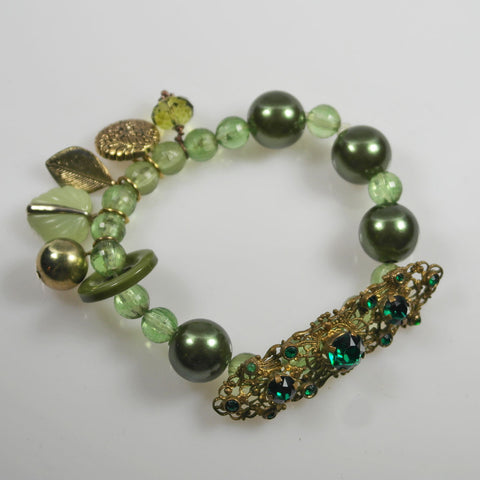 Green and Gold Charm Bracelet