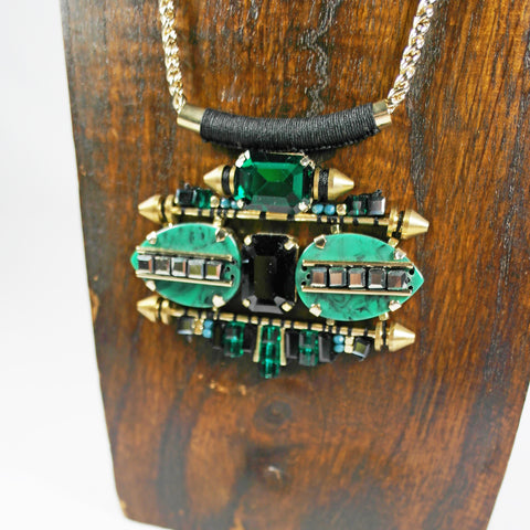 Statement Green & Gold Necklace