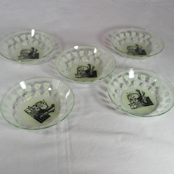 Five Oriential Print Green Glass Dishes