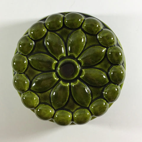Green Ceramic Majolica Wall Hanging Flower Jelly Mould