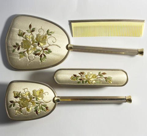 Embroidered Vanity Dressing Table Set in Yellow