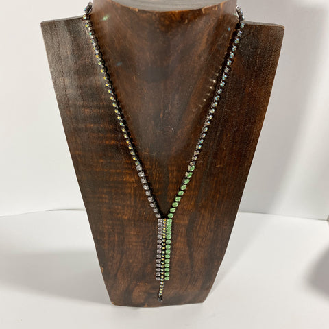 Green and Grey Diamante Strand Necklace