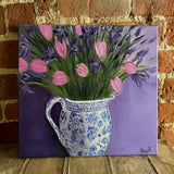 Painting Entitled Early Iris with Tulips