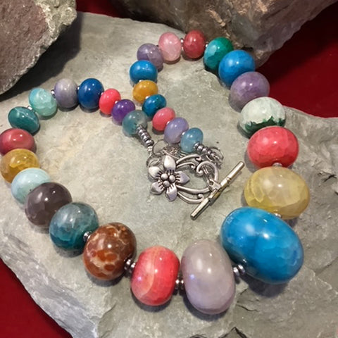 Multi-Coloured Agate Necklace