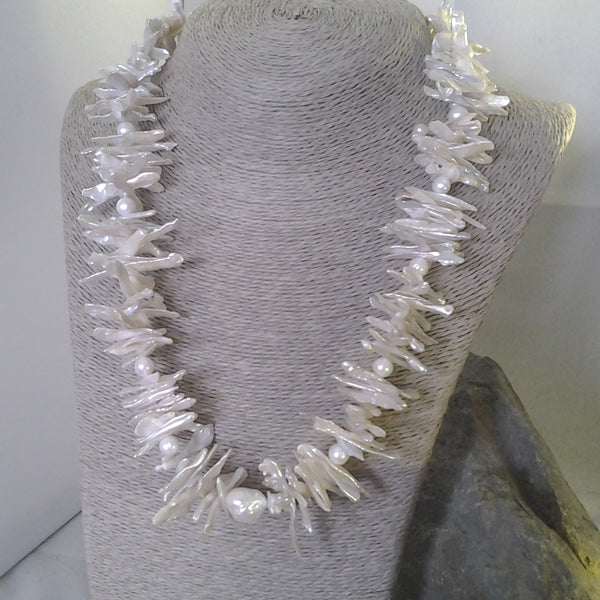 "Handmade with silver and natural keshi and freshwater pearl 20"" necklace. By Jadwiga, a Rural Magpie fair exhibitor"