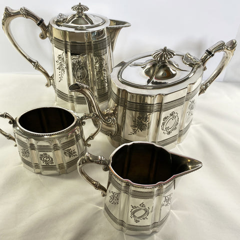 Victorian James Dixon & Son Silver Plate Tea Set