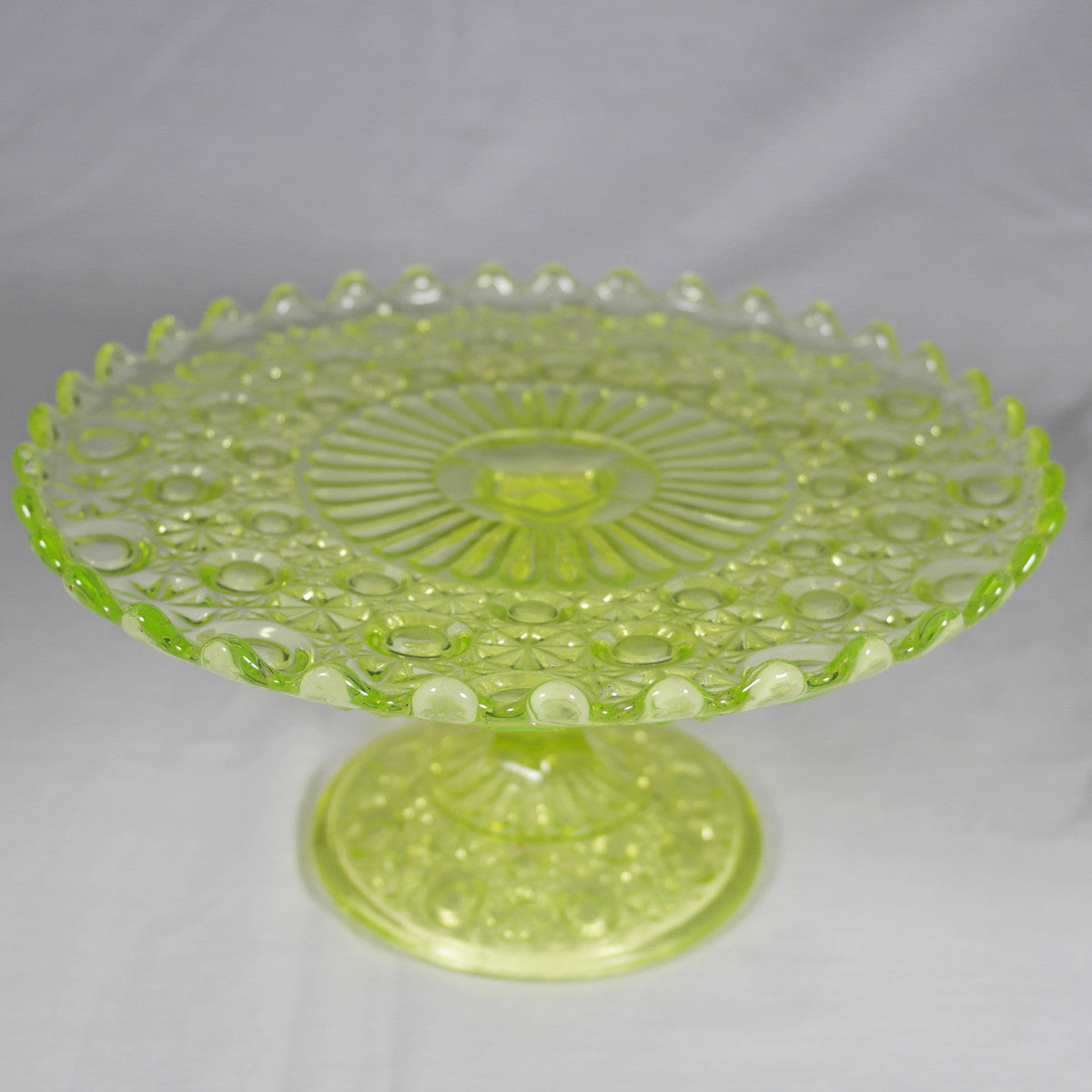 Lime Green Glass Pedestal Cake Stand