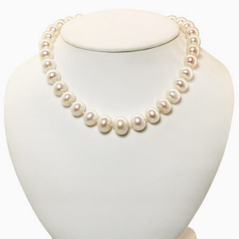 Graduated Baroque Pearl Necklace and Earrings