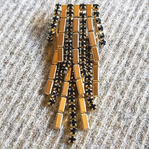 1960's Black and Gold Chandelier Brooch
