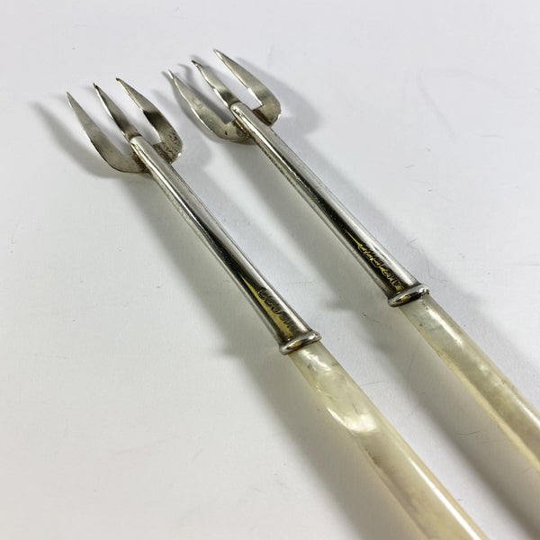 Adie and Lovekin Mother of Pearl Silver Pickle Forks