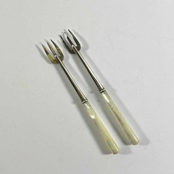 Adie and Lovekin Ltd Set of Two Mother of Pearl Silver Pickle Forks