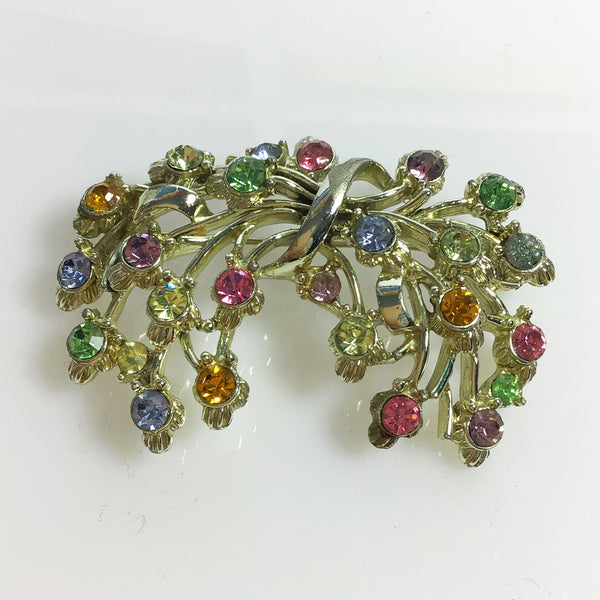 Multi-coloured rhinestone floral bouquet brooch signed Jewelcraft