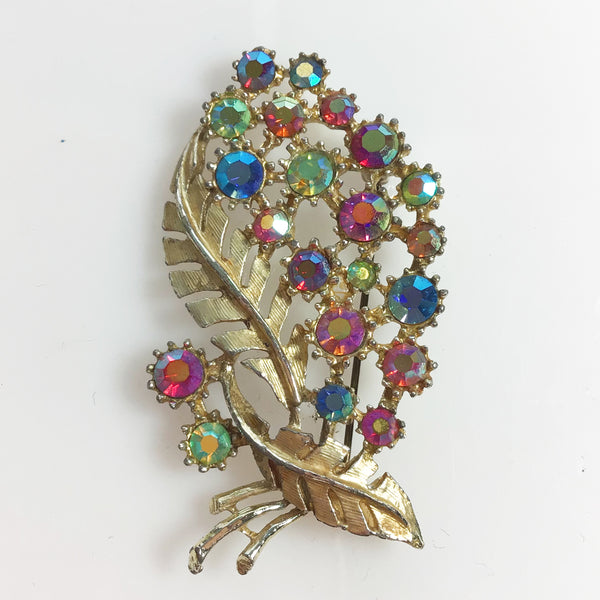 Aurora Borealis Bouquet Floral Brooch signed Hollywood