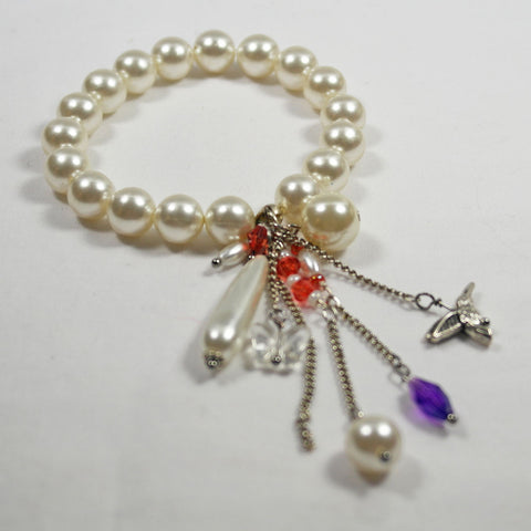Pearl Bracelet with Drop Charms