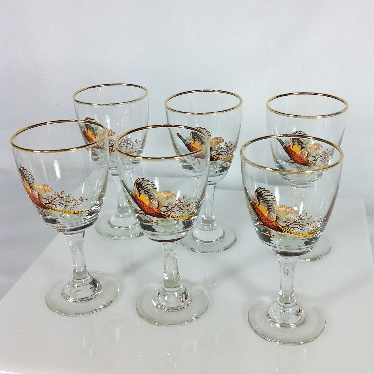Pheasant Scene Sherry Glasses