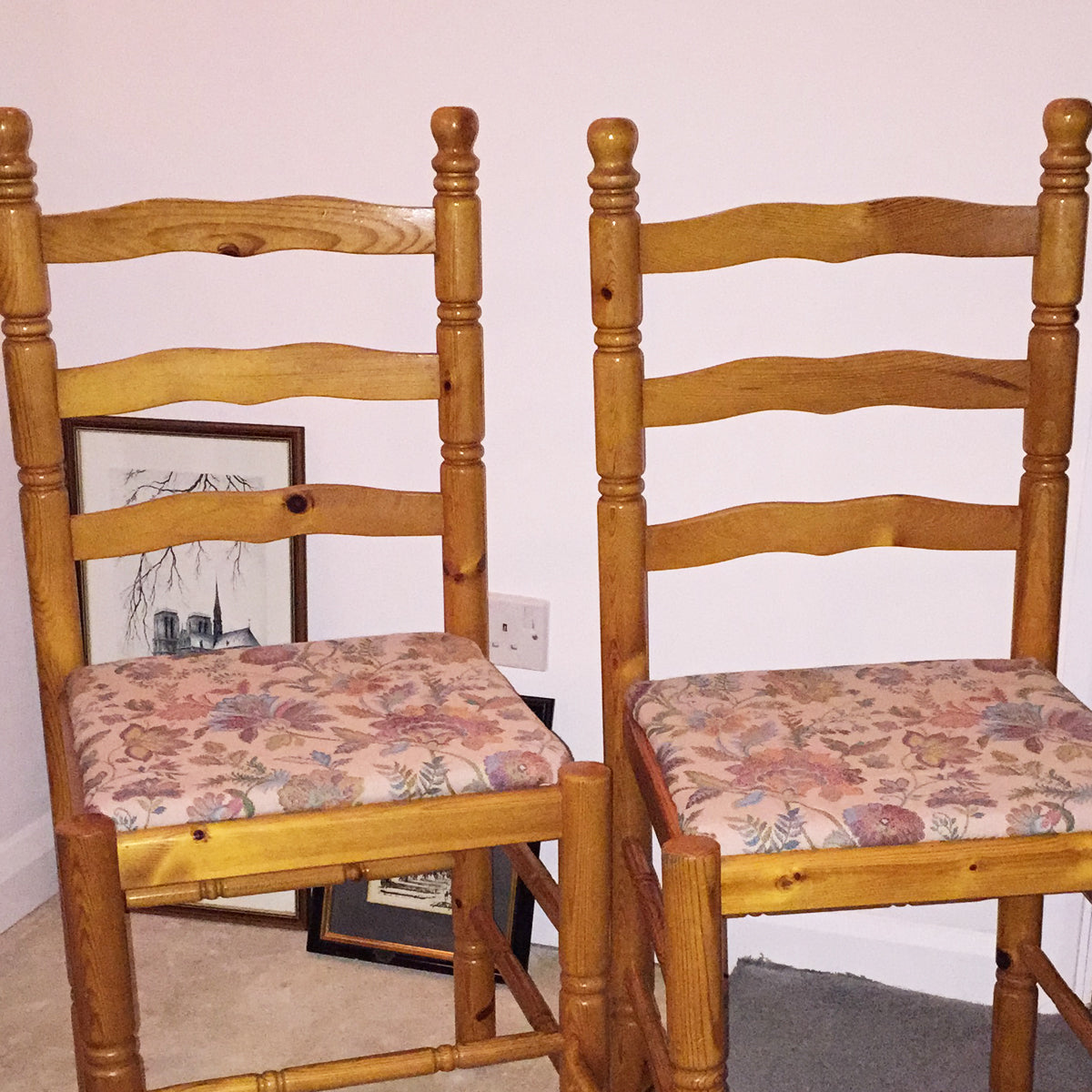 Re-upholstered by Rural Magpie Pine Ladder Back Chairs