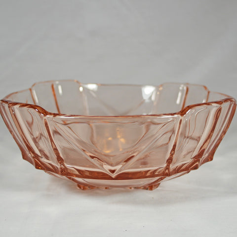 Art Deco Pink Glass Dessert Trifle Bowl