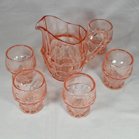 Art Deco Pink Glass Jug Set