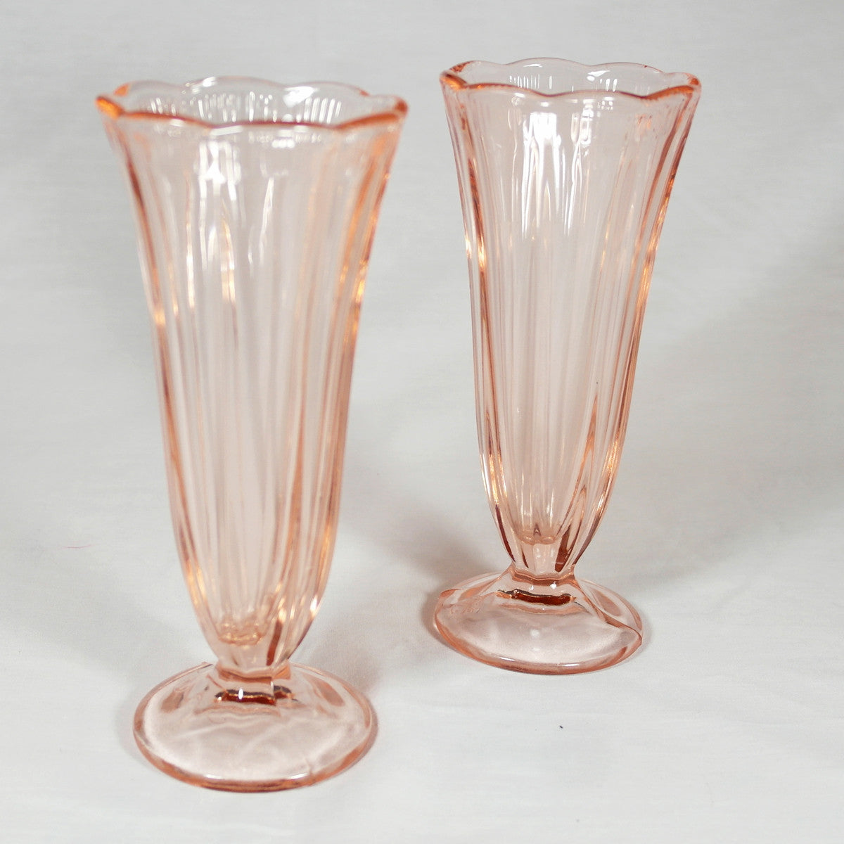 Pink Glass Ice Cream Sundae Glasses