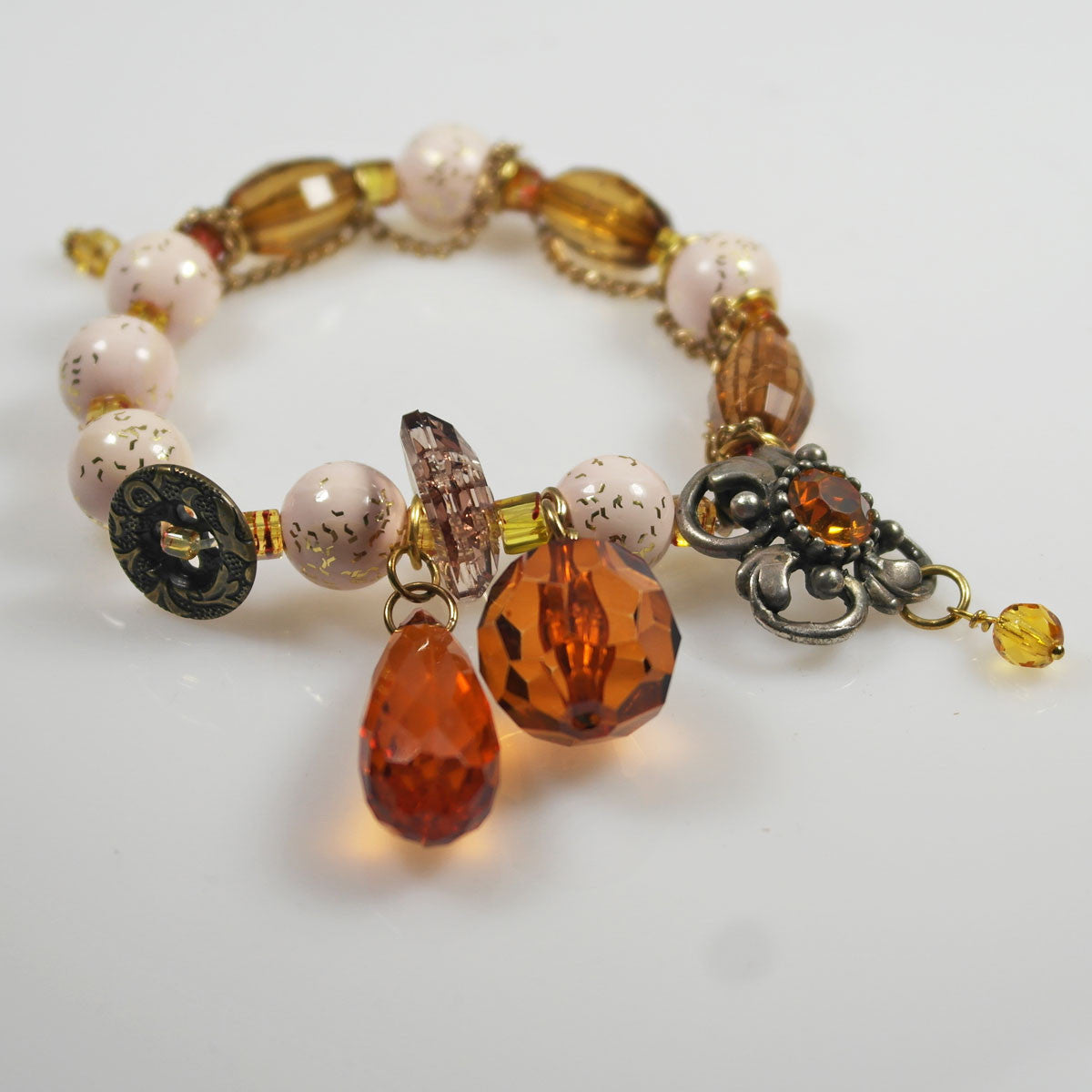 Pink and Amber Charm Bracelet