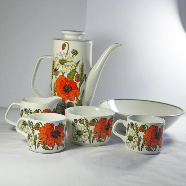 J & G Meakin Poppy Coffee Pot