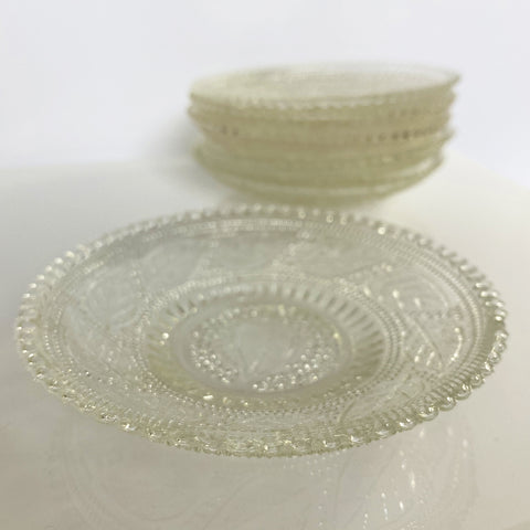 Six Textured Pressed Glass Shallow Dishes