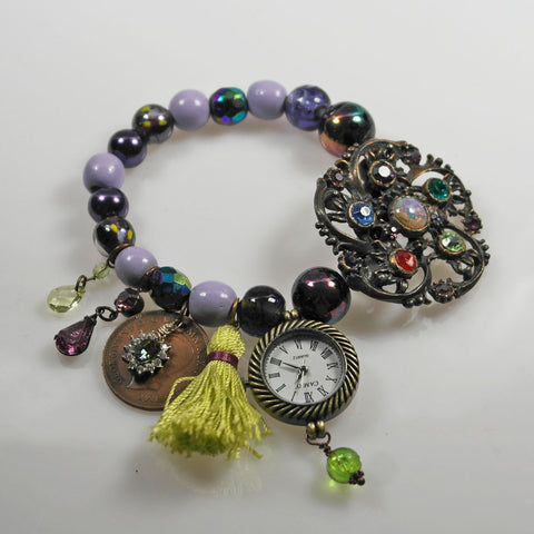 Purple Charm Bracelet Watch