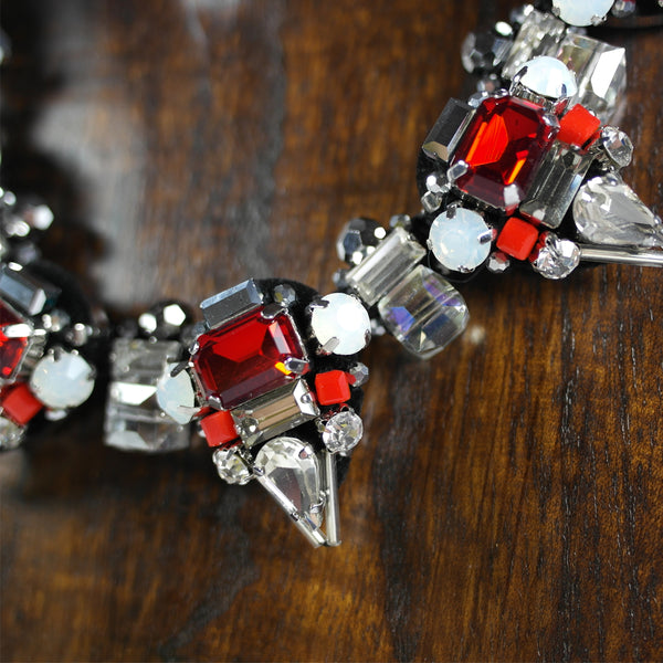 Ruby Red & Crystal Statement Necklace