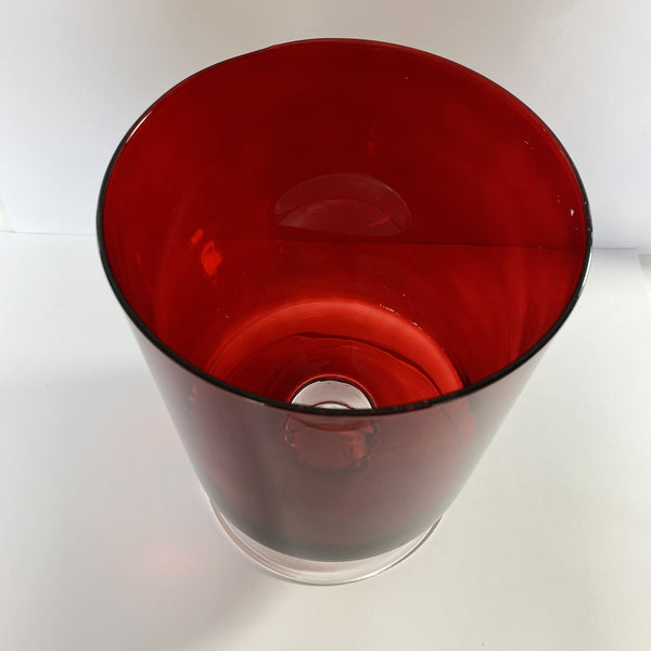 Red Hurricane Glass Vase