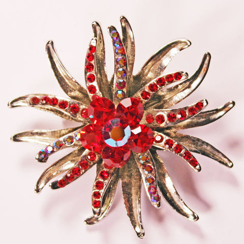 Red Rhinestone Floral Brooch