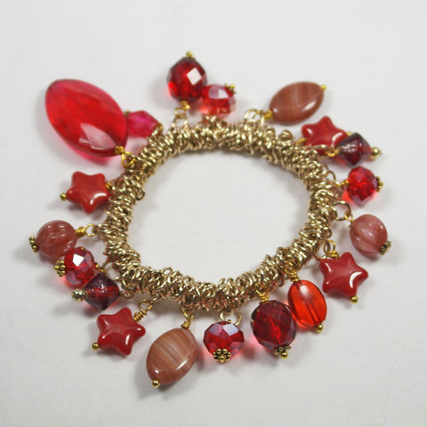 Red Jump Link Stretch Charm Bracelet